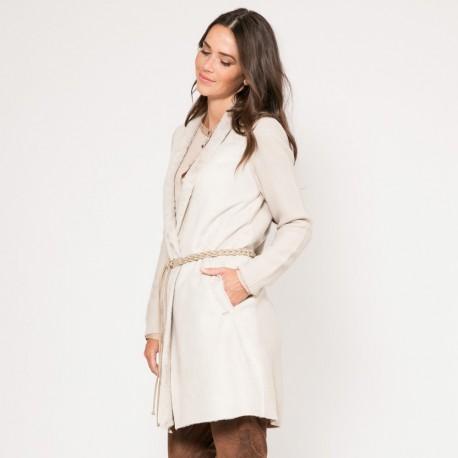 site réputé 55cda f2844 Manteau long blanc imitation peau lainée Vestes, Manteaux, Parkas Femme  OPALE Stone — Elora