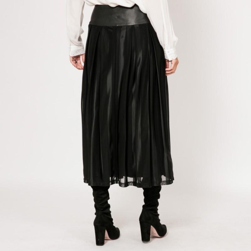 Jupe longue et ample plissée noire | Elora