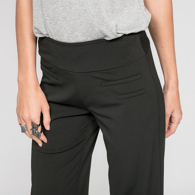 pantalon fluide pisolai pantalons jeans femme pisolai noir elora. Black Bedroom Furniture Sets. Home Design Ideas