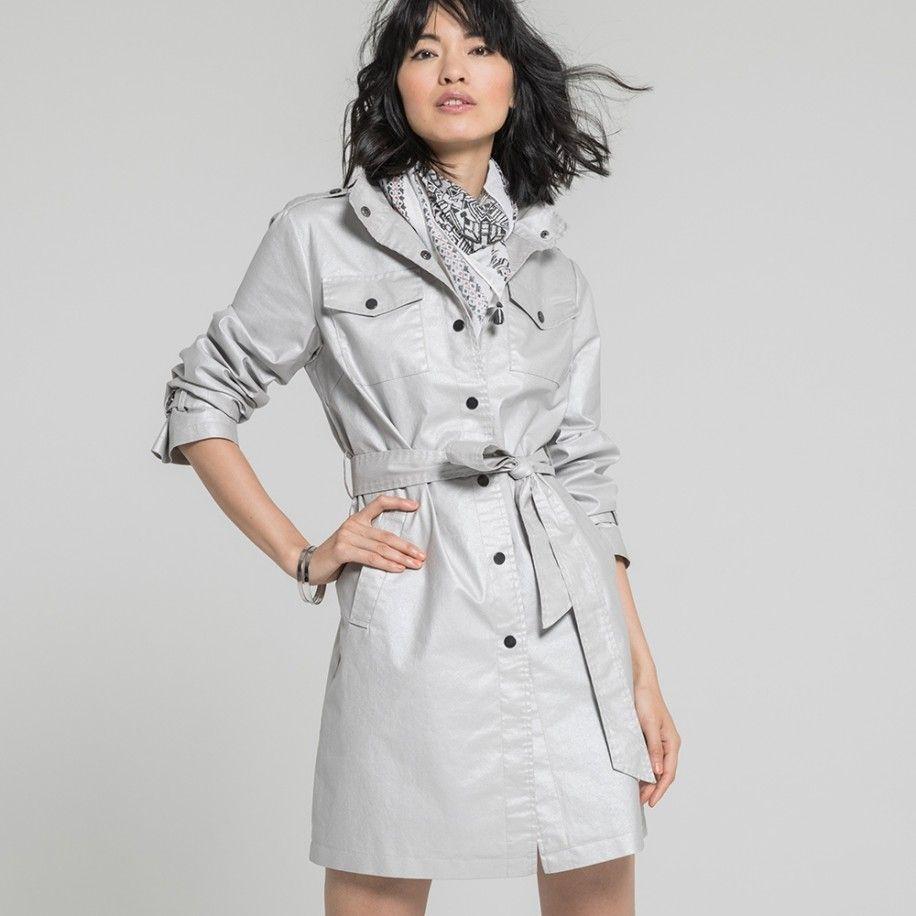 Elora VestesManteauxParkas Coat 100Coton Trench — Irisé Gris Argent Femme Vêtements 19sabre pSMjzVGqUL