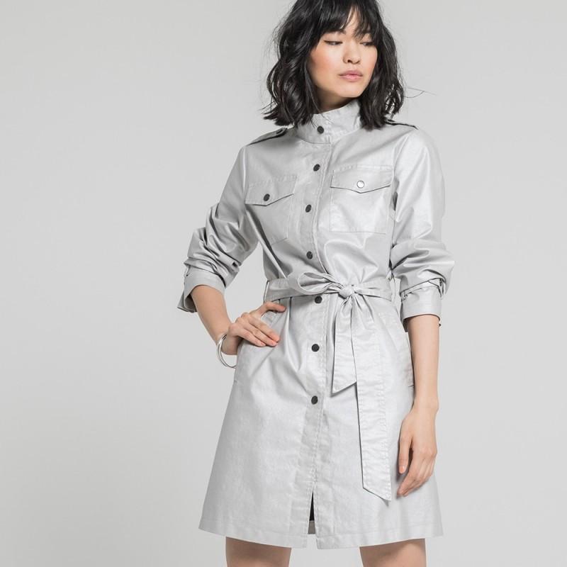 0a50fb49fb Trench coat gris irisé 100% coton | Elora