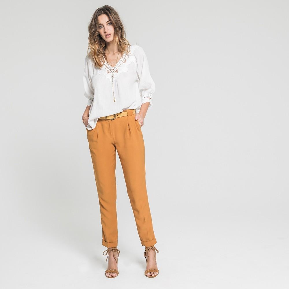 ocre bolsillos con de Pantalones italianosElora zanahoria amarillo ilwOZXuTPk