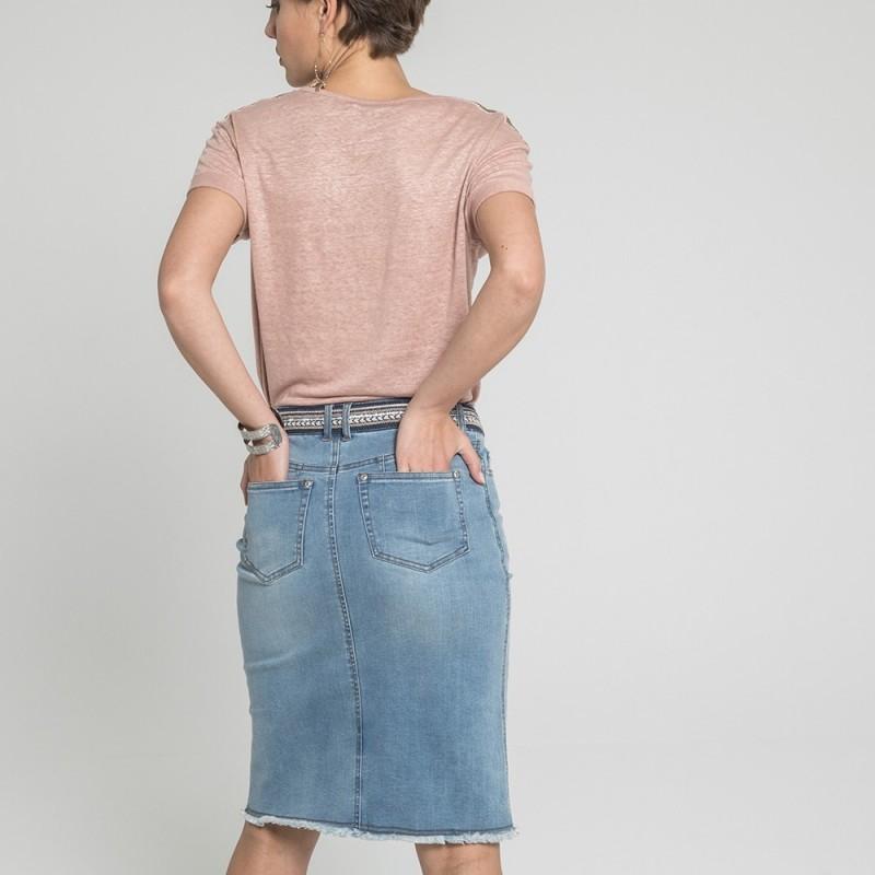 761d7c9edf81df Jupe droite en jean longueur genou avec franges | Elora