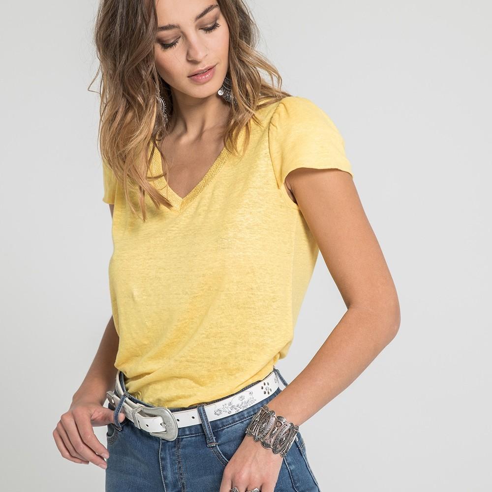ae636ebd679 Tee-shirt jaune 100% lin à col v manches courtes