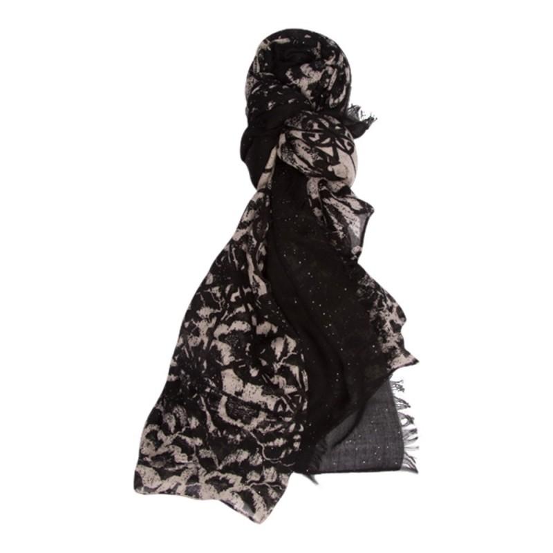 ab39655d5131 Vente en ligne Chèche noir et beige imprimé graphique, Foulards, Écharpes  sur la boutique Elora