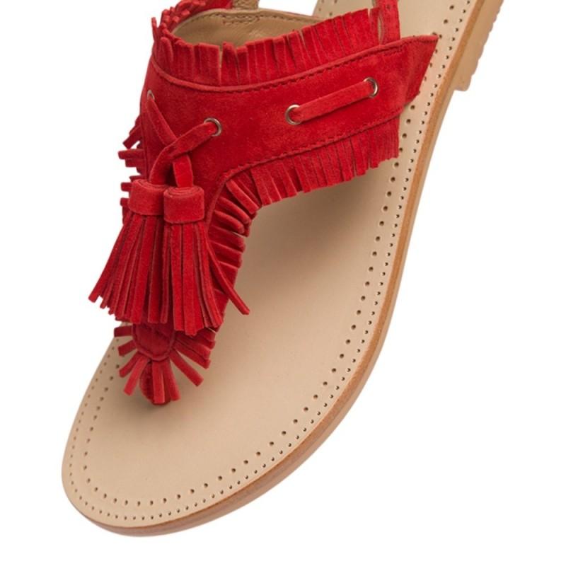 Sandales entre doigts rouge en cuir avec franges et pompons