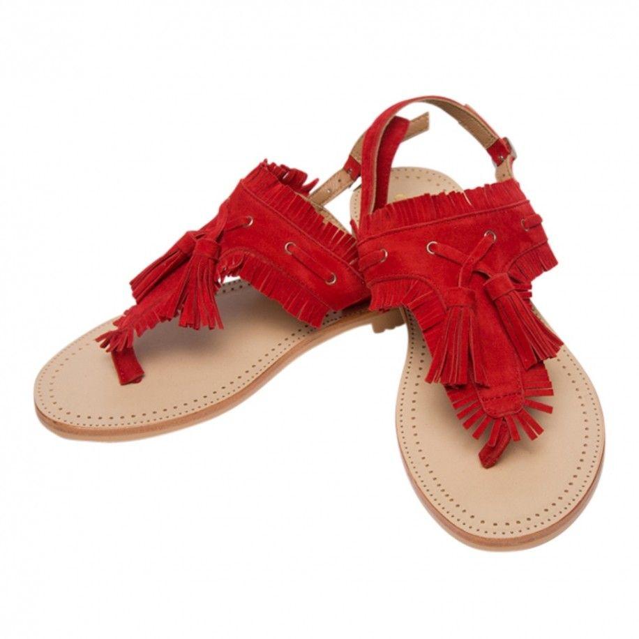 réel classé meilleur site gamme exceptionnelle de styles et de couleurs Sandales entre-doigts rouge en cuir avec franges et pompons Collections  Accueil 19SYRACUSE Rouge — Elora