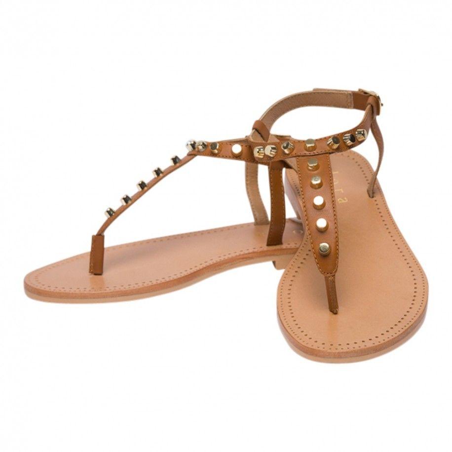 Sandales entre doigts camel en cuir avec clous Collections Accueil 19SYROS Camel — Elora