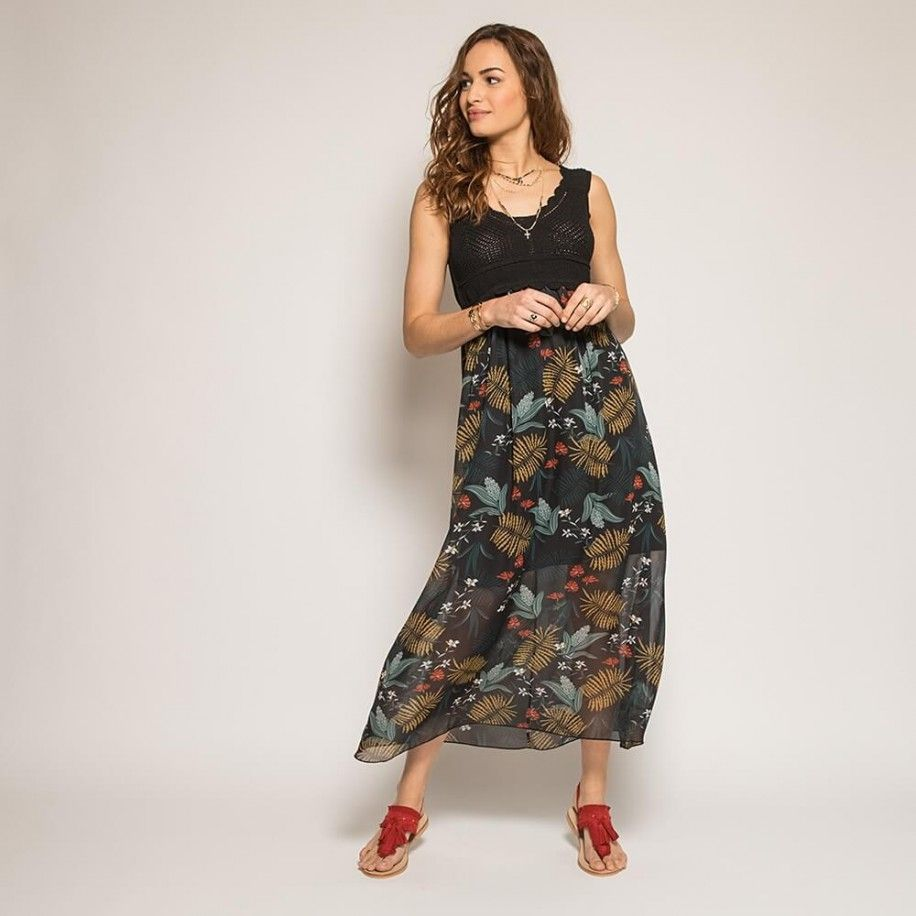 910af82596692c Robe longue noire en voile et crochet imprimé tropical Collections Accueil  19SERVAL Noir multico — Elora