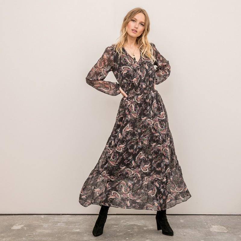 Robe Longue Fluide A Manche Longue Robe Longue Fluide Imprimee Boutique Elora