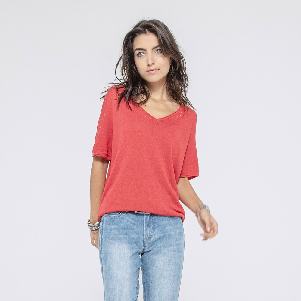 Pull manches courtes corail