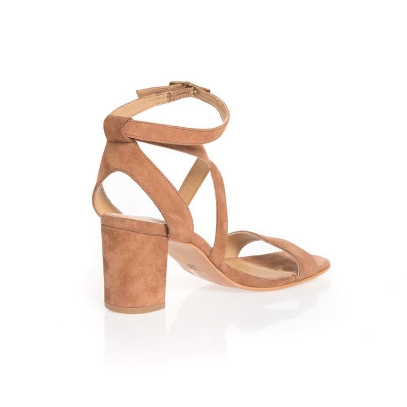 Sandales à talon en cuir cognac à brides | Elora