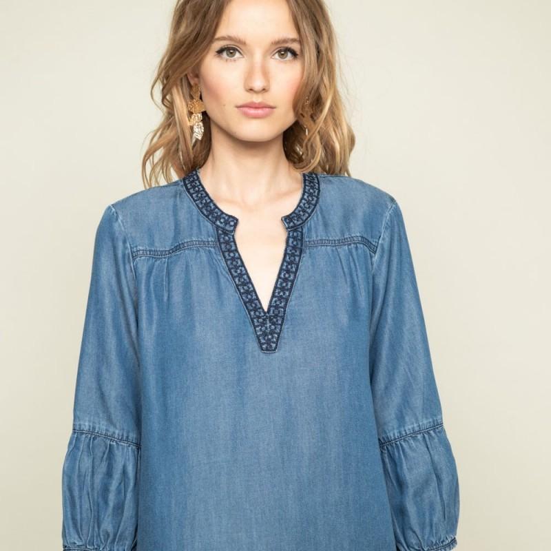 Robe bleue denim courte en lyocell à manches 34 | Elora