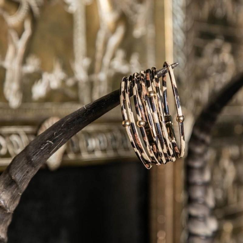 Bracelet 7 rangs imprimé léopard