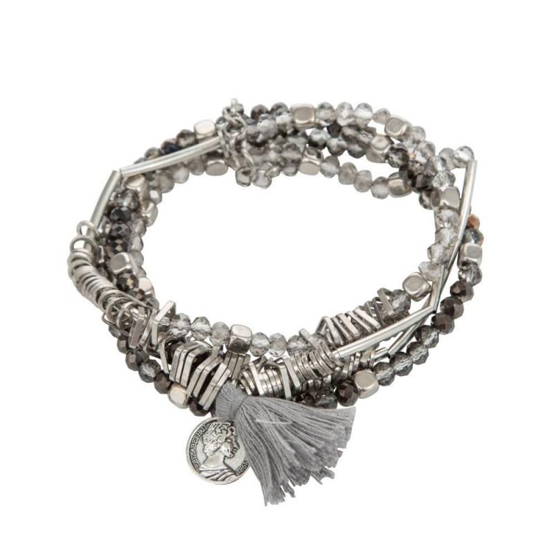 Lot de bracelets élastiqués bleus et argentés avec perles et pampilles