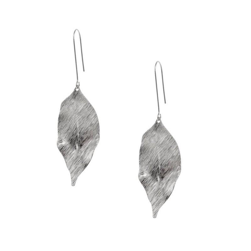 Boucle d'oreilles pendantes argentées en forme de feuilles