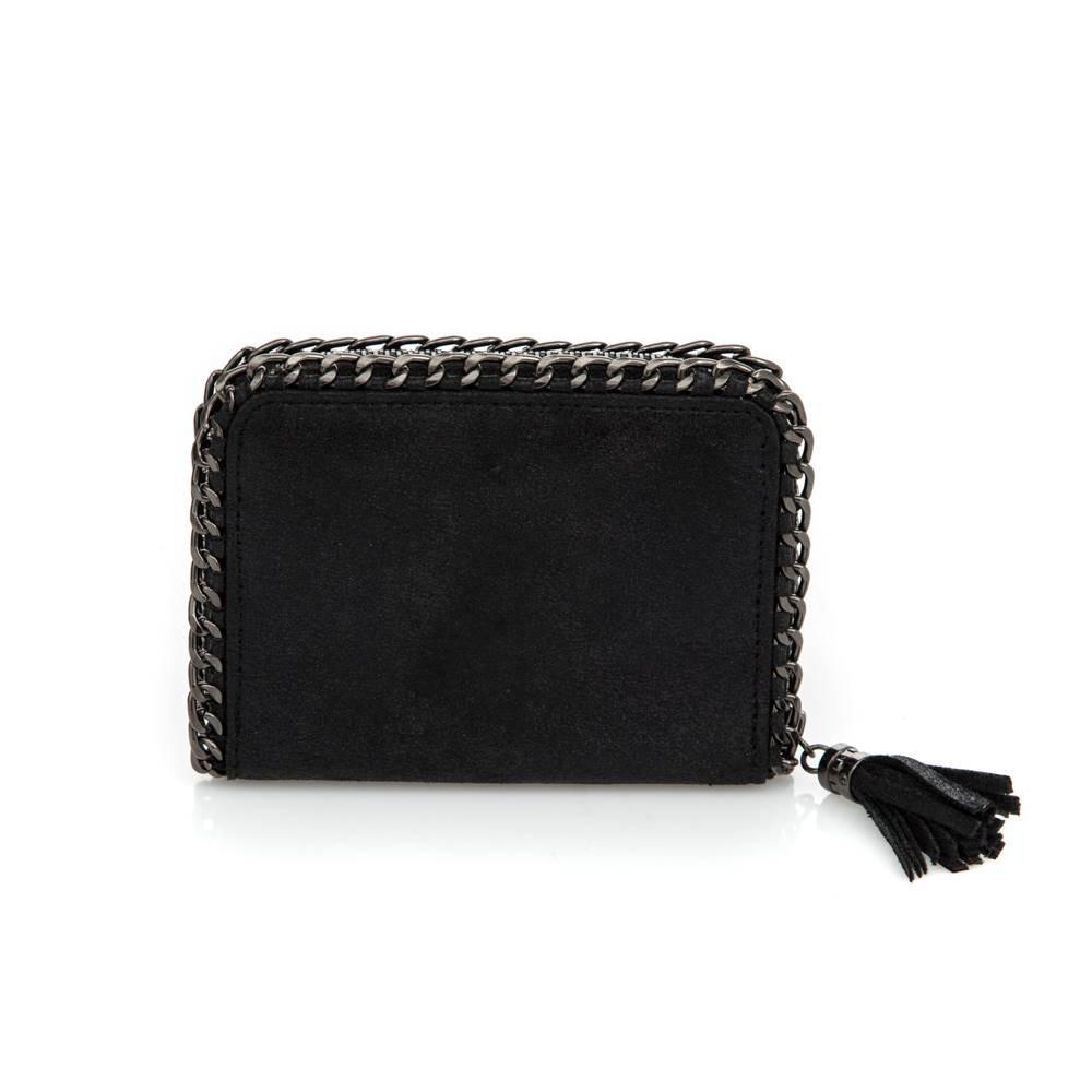 Porte-monnaie rectangulaire zippé noir brillant