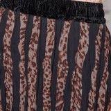 Jupe longue droite imprimée léopard en voile