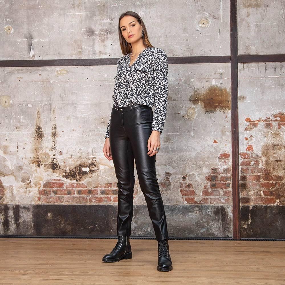 Pantalon droit noir en simili cuir et maille milano