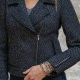 Blouson perfecto zippé en tweed