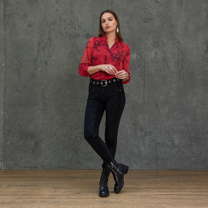 Pantalon droit noir style velours