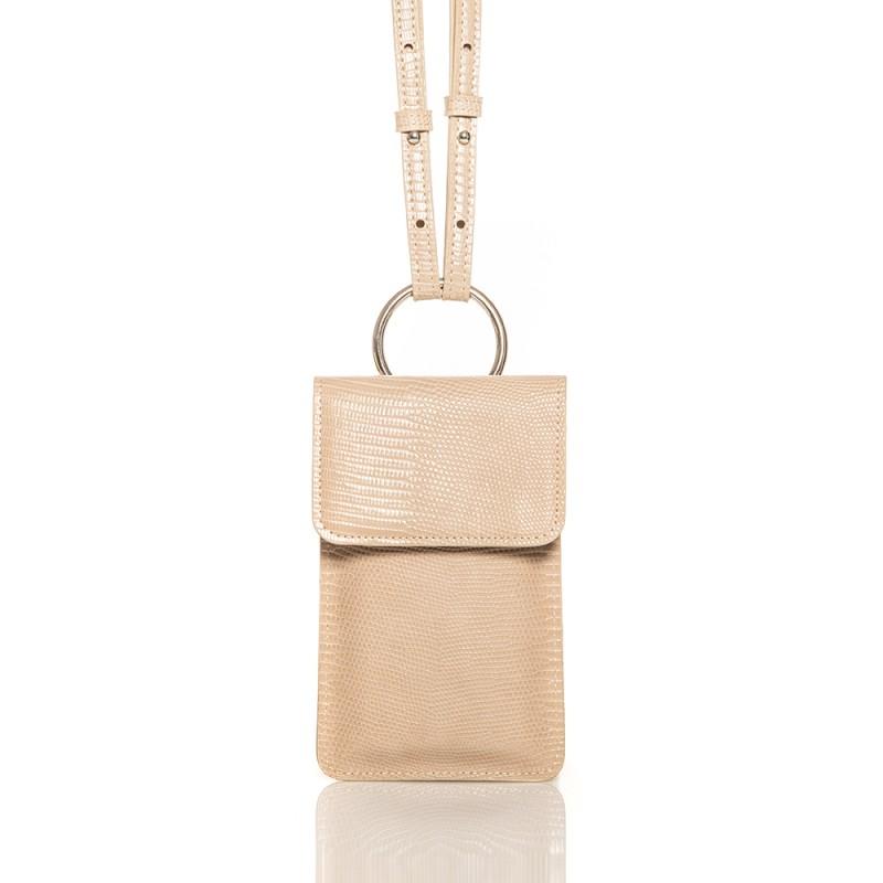 Pochette téléphone beige à porter en bandoulière