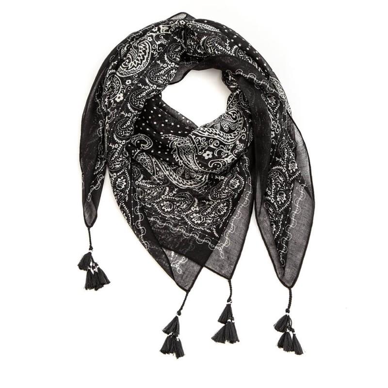 Foulard carré écru et noir avec pompons