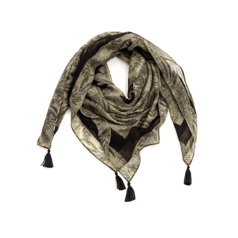 Foulard carré kaki et noir avec pompons