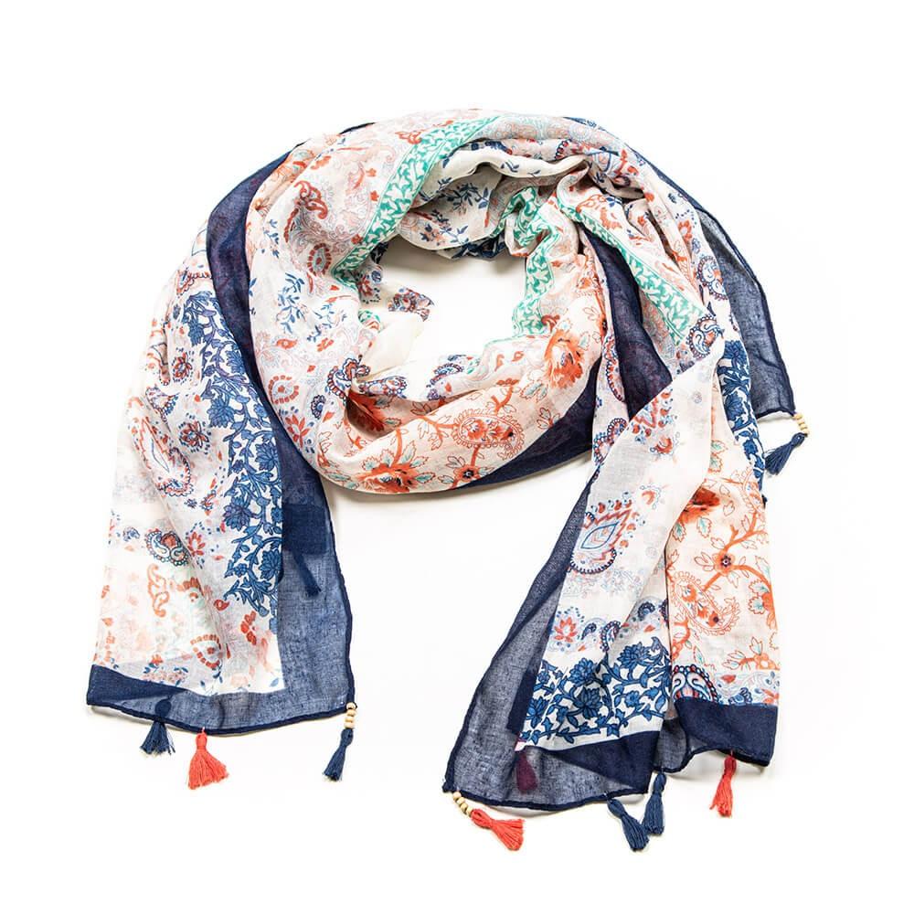 Chèche multicolore à pompons motif patchwork