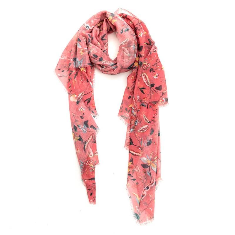 Chèche rose et kaki imprimé floral
