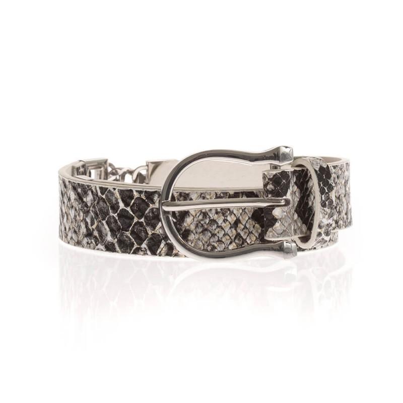 Ceinture chaîne argenté et simili cuir imprimé python avec boucle métal