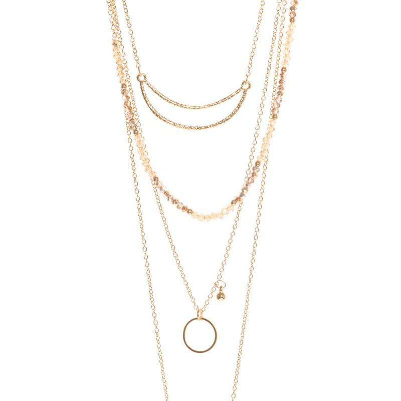 Collier multi-rangs doré avec perles, pendentif et chaînes