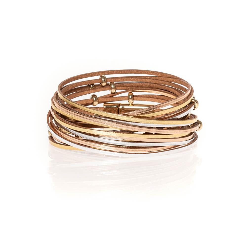 Bracelet multi rangs doré, argenté et rosé