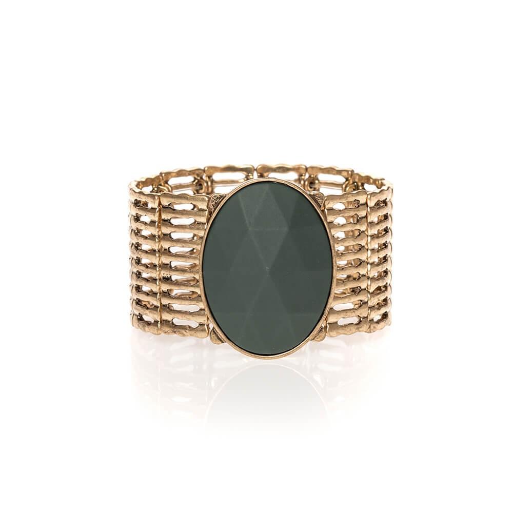 Bracelet manchette élastiquée bronze et vert avec pierre