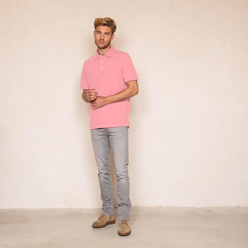 Polo rose 100% coton éco-responsable à manches courtes