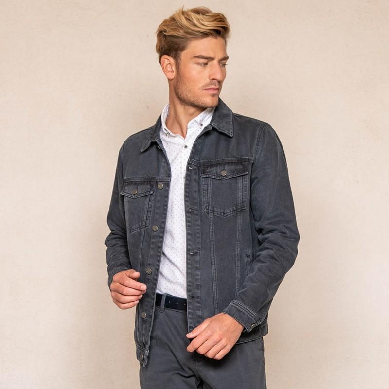Blouson en jean bleu gris 100% coton éco-responsable
