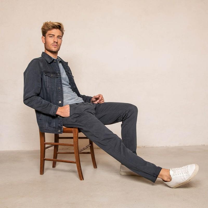 Pantalon chino bleu navy en coton éco-responsable