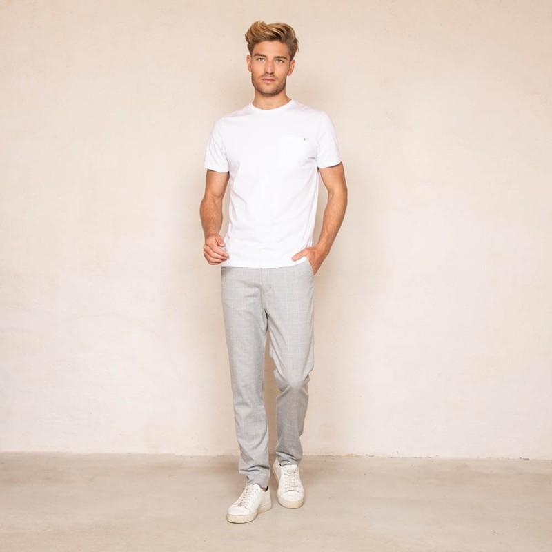 Pantalon gris clair à carreaux droit et confortable en polyester recyclé