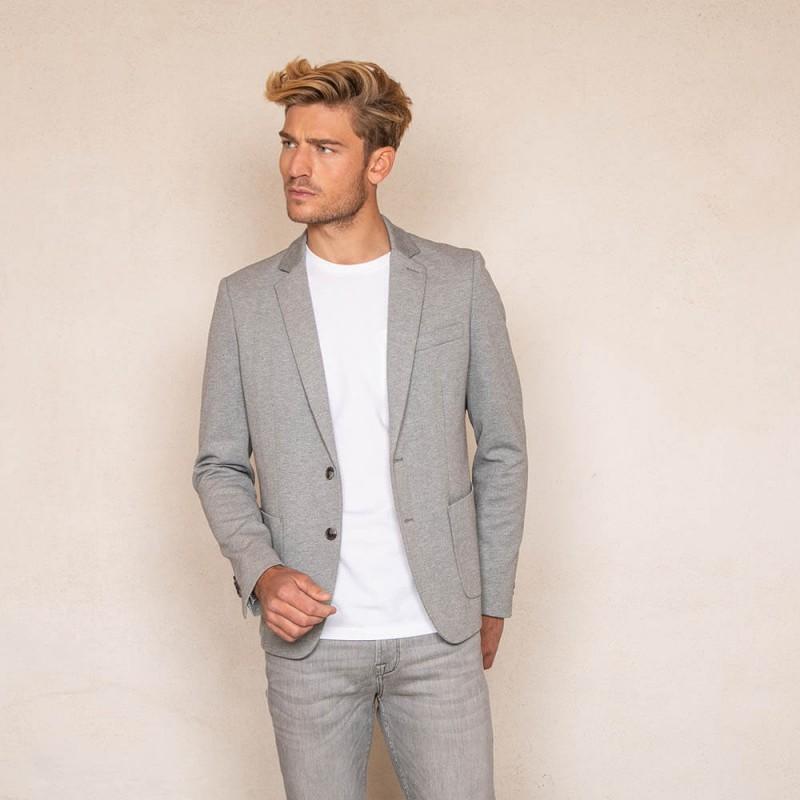 Veste grise claire doublée à col tailleur