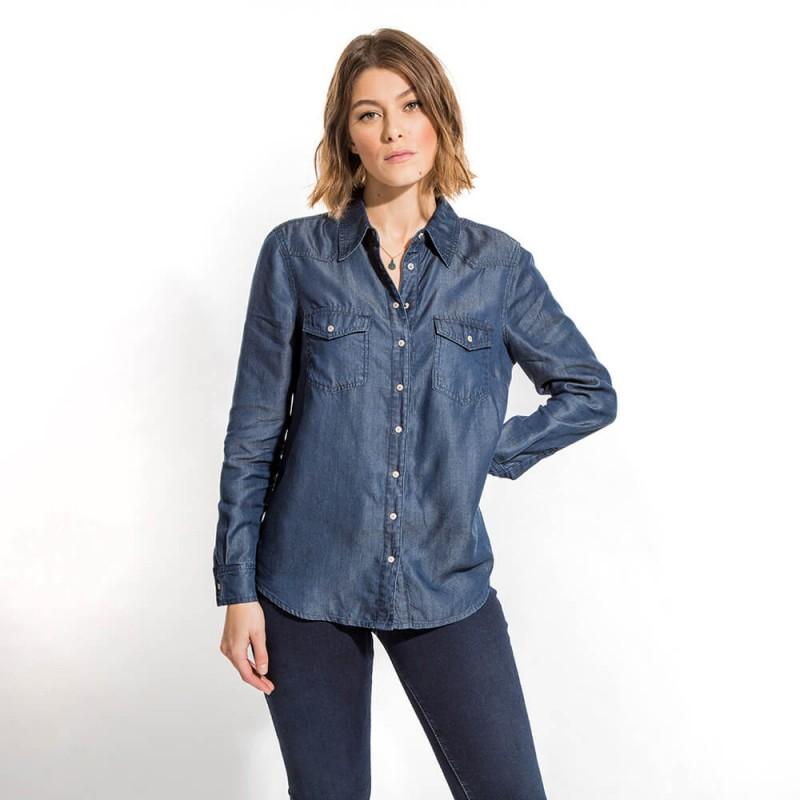 Chemise en jean en lyocell éco-responsable à manches longues