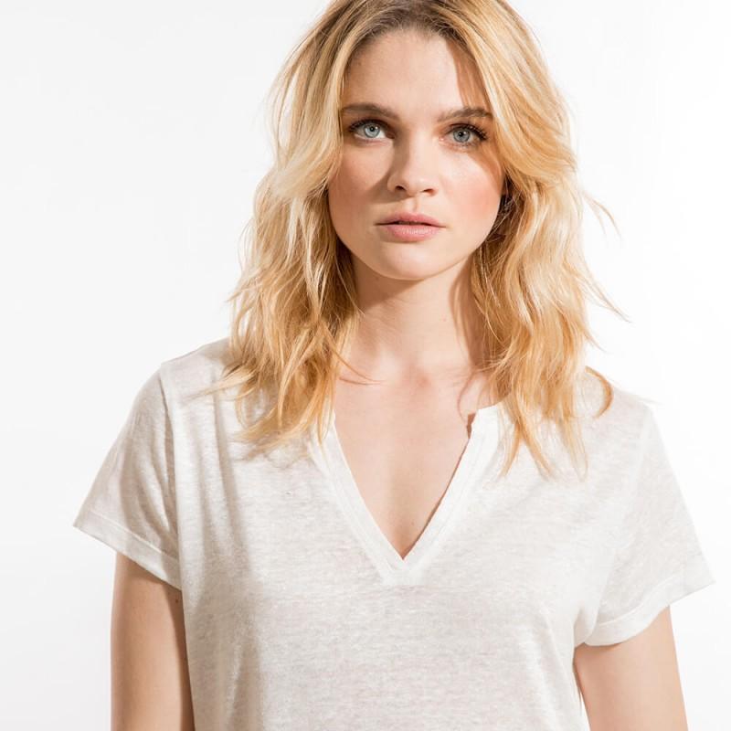 T-shirt fluide écru éco-responsable en lin à col rond et manches courtes
