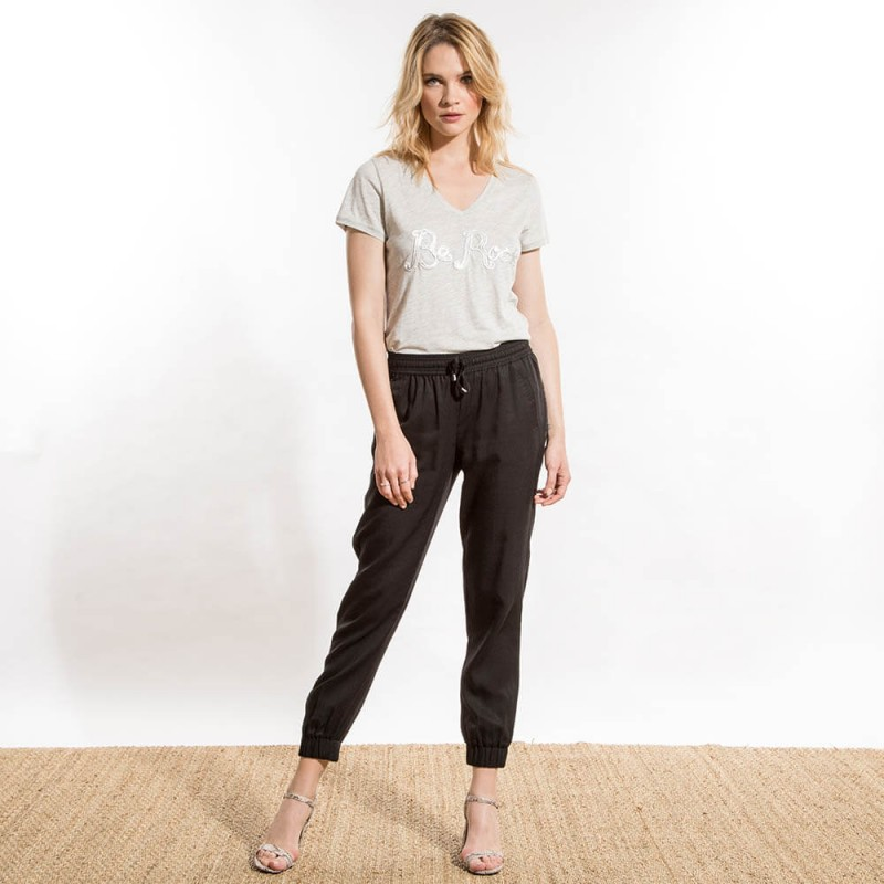 Pantalon loose noir éco-responsable style jogging avec ceinture élastique