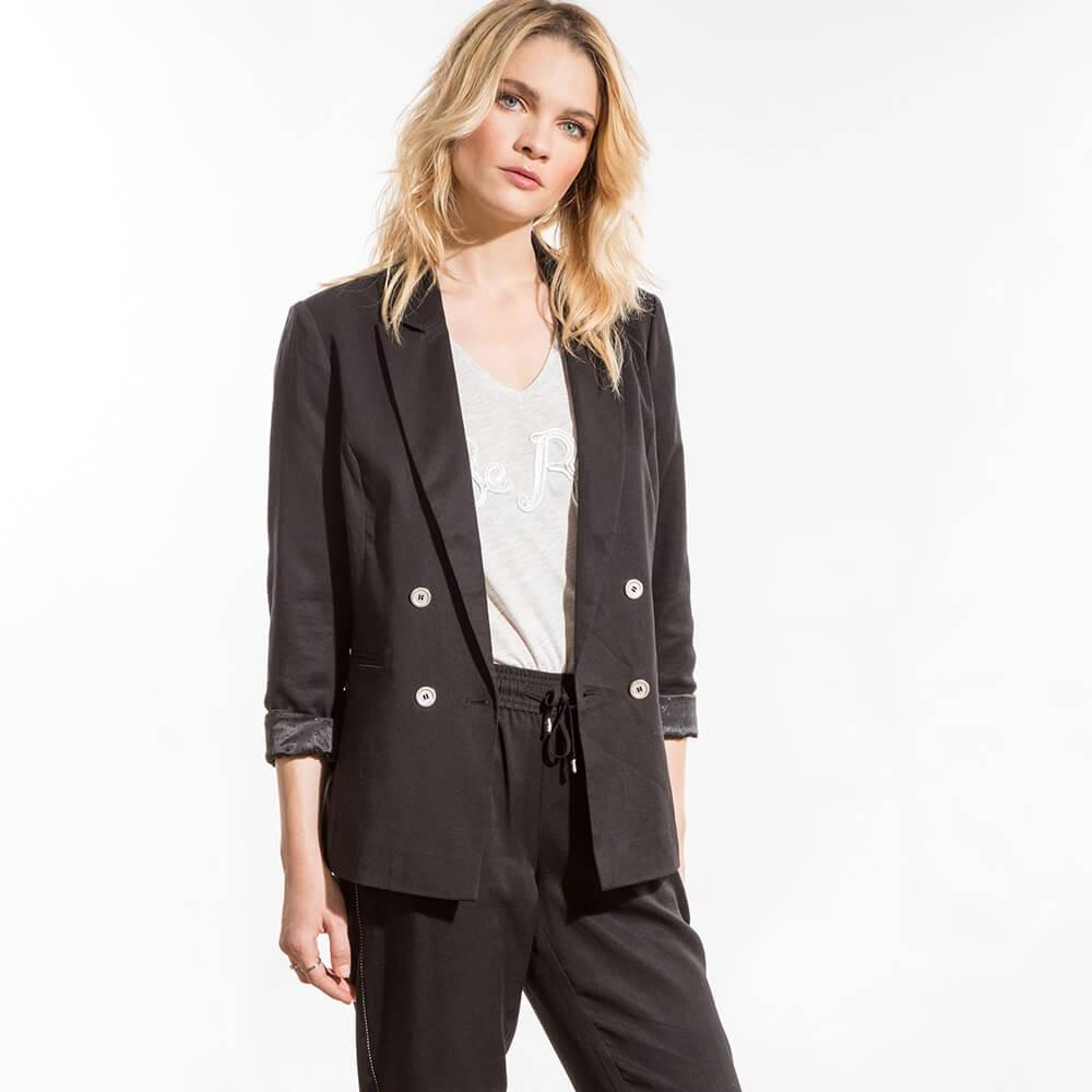 Veste blazer noire croisée en lyocell et lin
