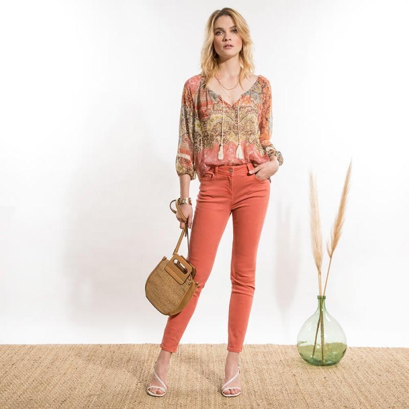 Pantalon slim rouge en coton éco-responsable