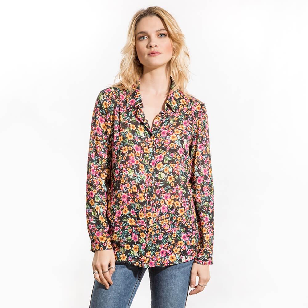 Chemise droite et fluide à fleurs en viscose manches longues