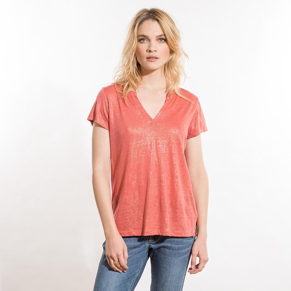 T-shirt fluide rouge éco-responsable en lin à col rond et manches courtes