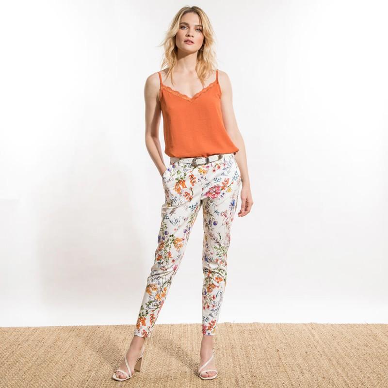 Pantalon carotte imprimé à fleurs