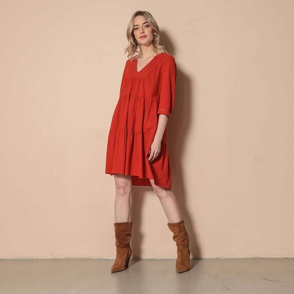 Robe en coton orange à volants et manches 3/4