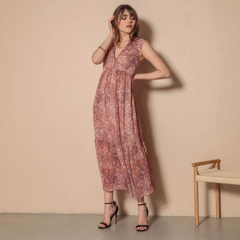 Robe longue fendue imprimé cachemire rosé