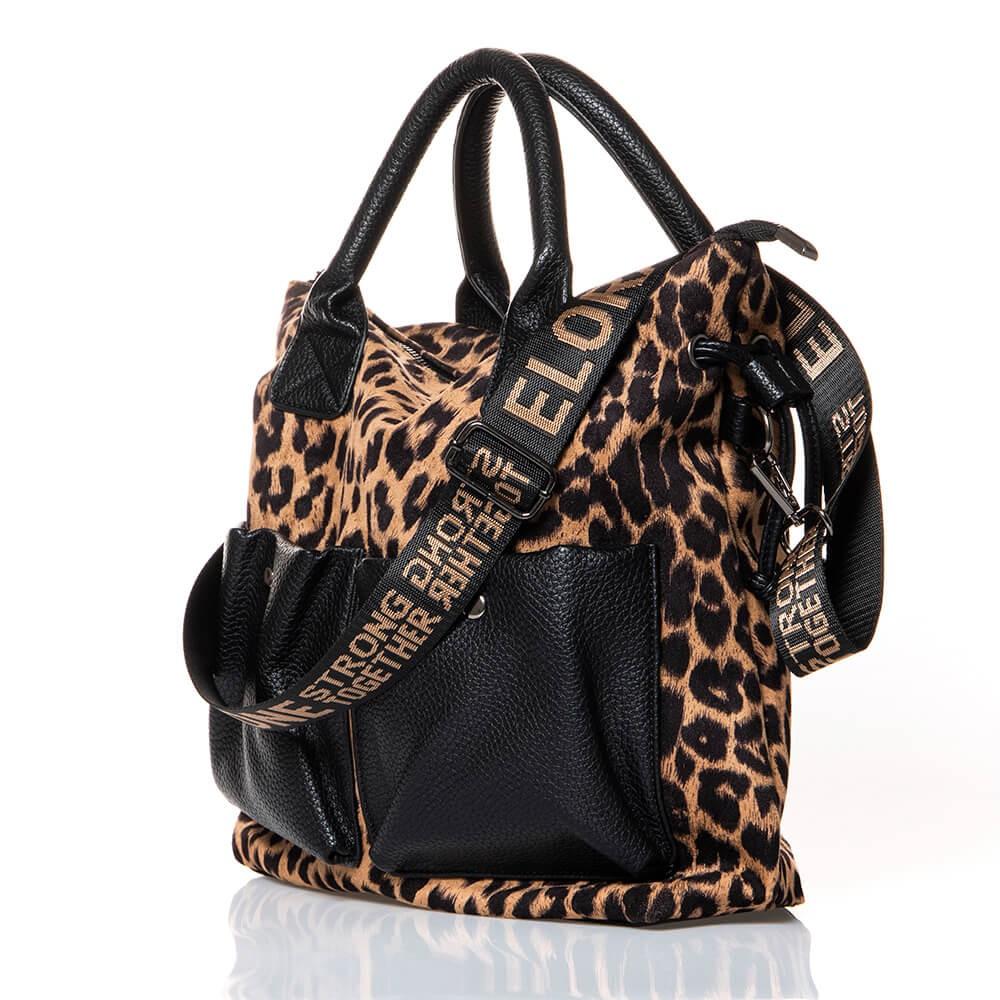 Sac shopping motif léopard et simili cuir grainé